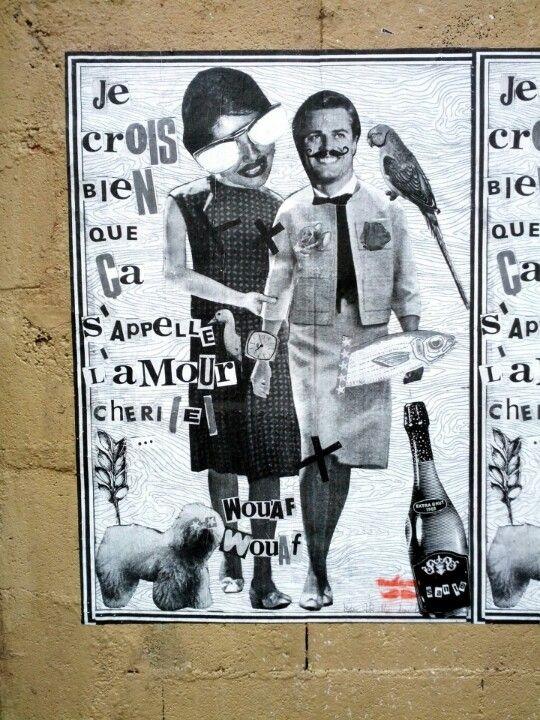 """Paris 11 - quartier de la roquette - rue saint Bernard - street art - madame moustache - """"i do think that is called love, darling"""""""