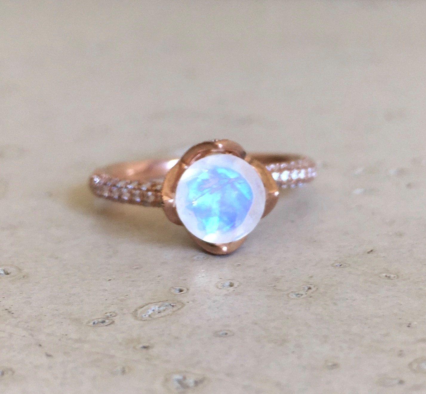 moonstone wedding rings Lotus Flower Moonstone Engagement Ring Rose Gold Moonstone Promise Ring Diamond Moonstone Bridal Ring Rose Gold Moonstone Wedding Ring