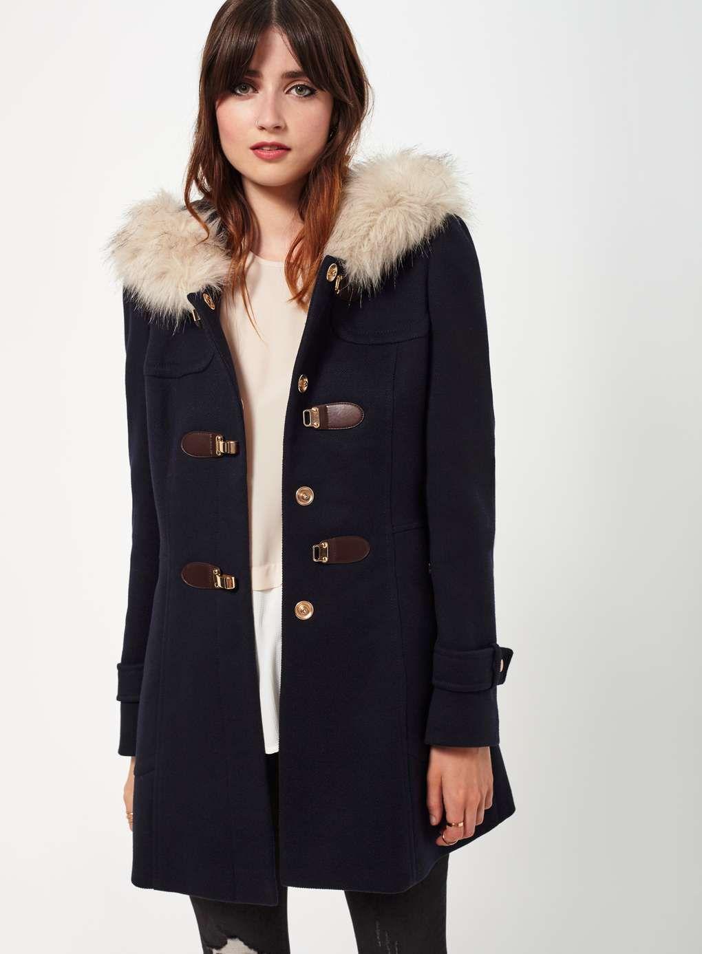Navy Toggle Duffle Coat - Miss Selfridge   Empress style ...