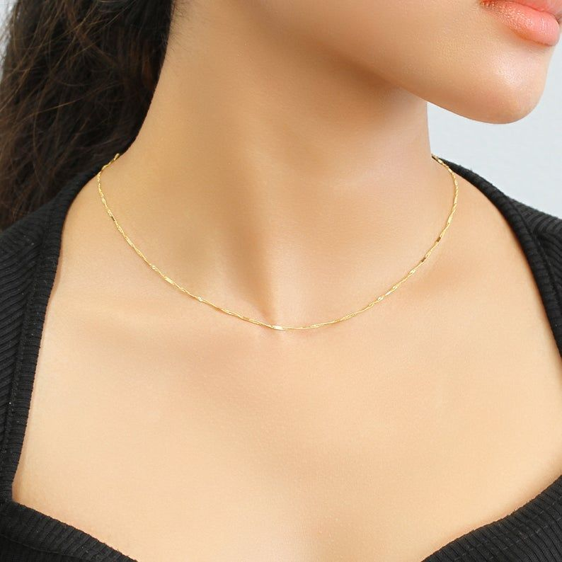 Gold Singapore Chain Solid 14k Gold Necklace Men Women 1mm Etsy 14k Solid Gold Necklace 14k Gold Necklace Necklace