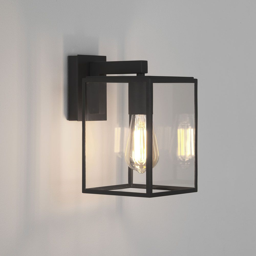 Box Lantern 270 Wall Light In Textured Black With Clear Glass