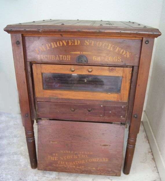 Antique Egg Incubator Rustic Wooden Side Table With By