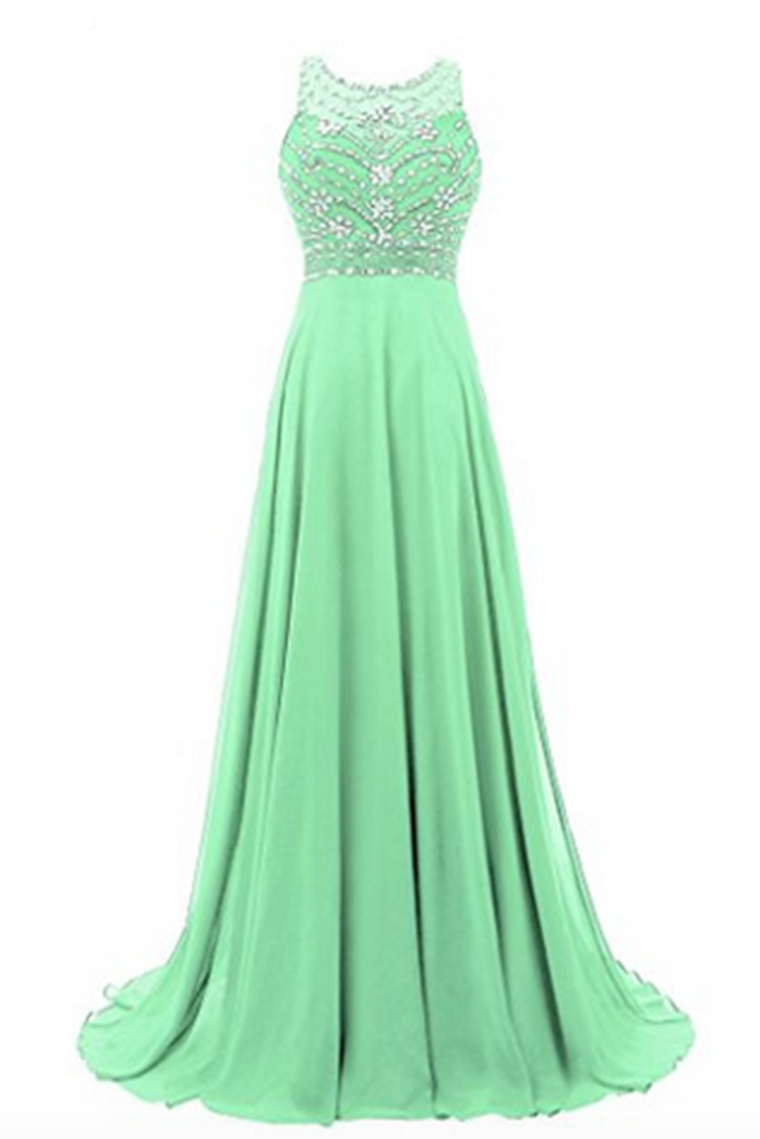 Sexy Prom Dress,Sleeveless Chiffon Beaded Prom Desses Evening