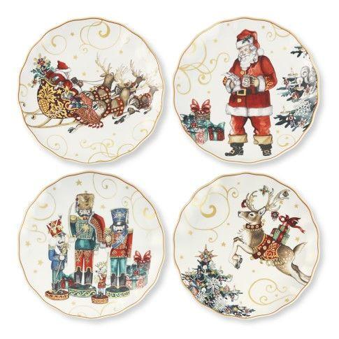 Dinnerware  sc 1 st  Pinterest & Twas The Night Before Christmas Dinner Plates Set of 4 Santa ...