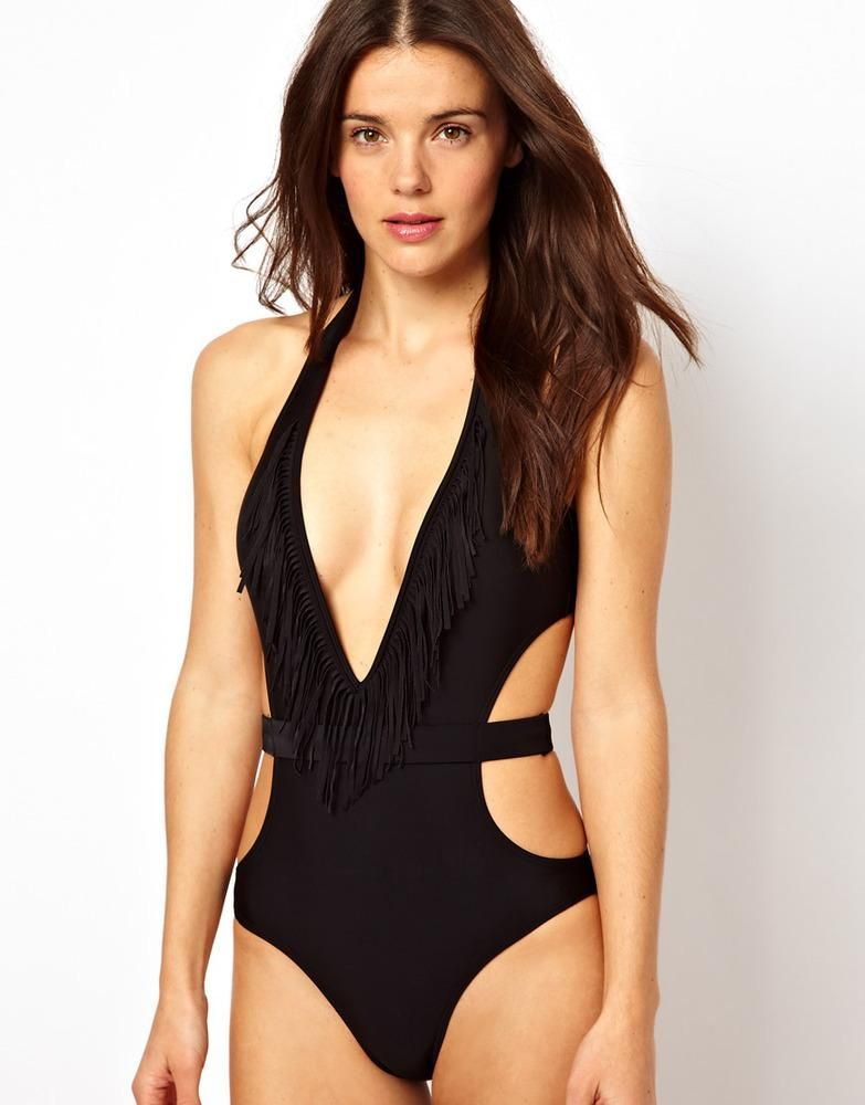 398ca4b87fa ASOS Black Fringed Cut Out One Piece with Belt Detail Women's Fashion  Swimwear