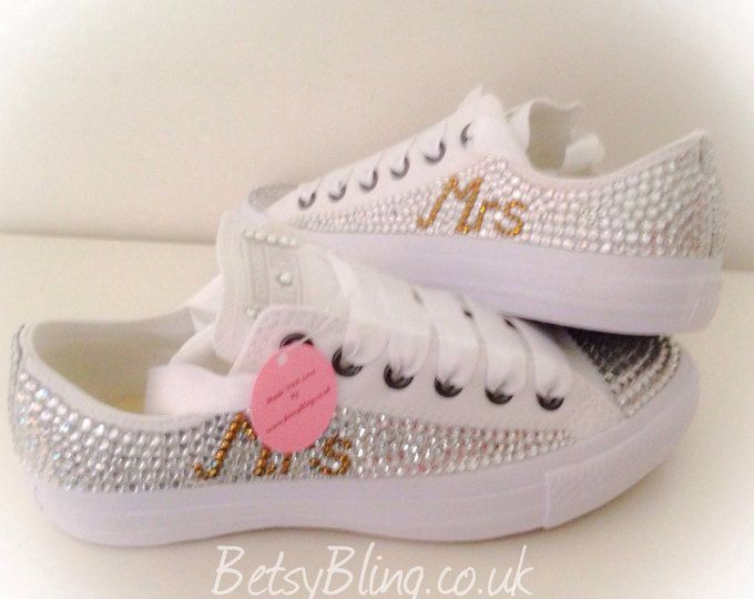 Wedding Converse all white   Fully covered in Crystal Pearl ... 6cd12c60d