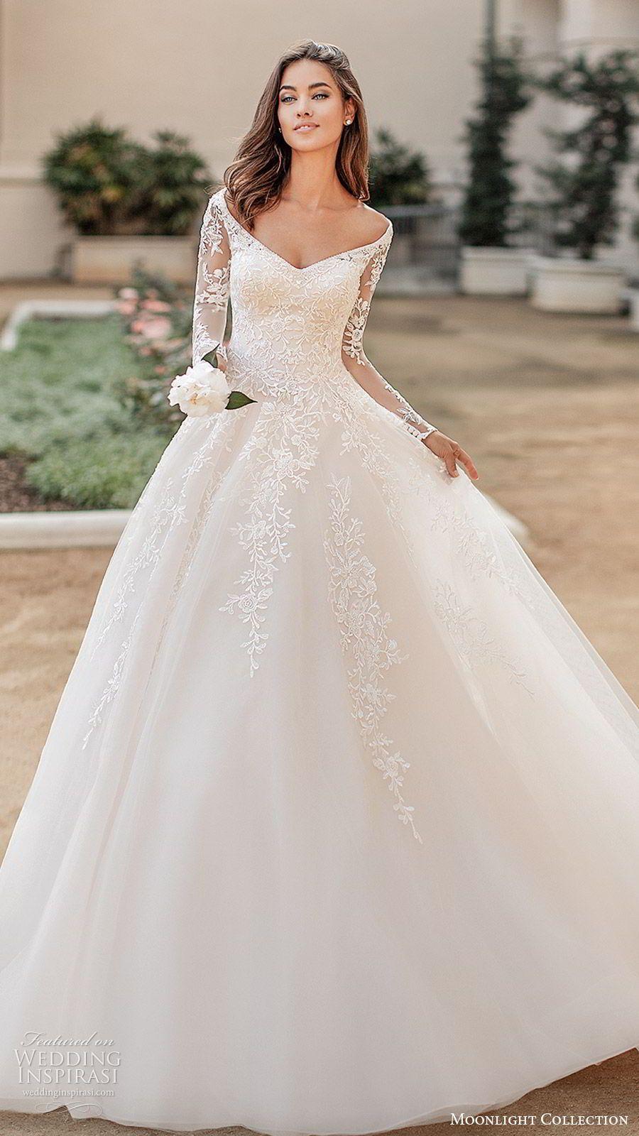 Moonlight Collection Fall 2019 Wedding Dresses Wedding Inspirasi Ball Gowns Wedding Princess Wedding Dresses Wedding Dress Long Sleeve [ jpg ]