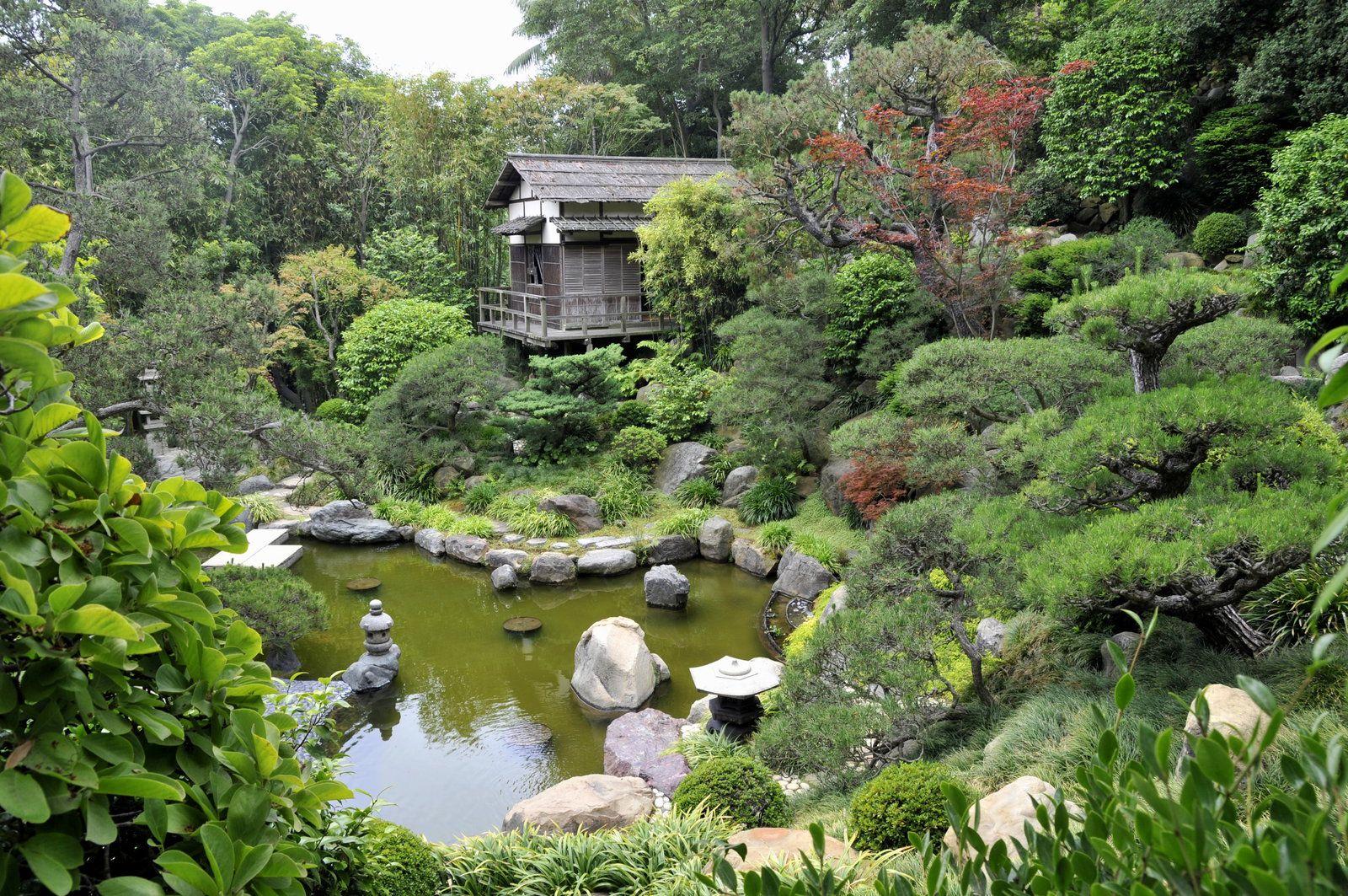 Landscape of house garden  Japanese Garden House and Pond by AndySerranoviantart on