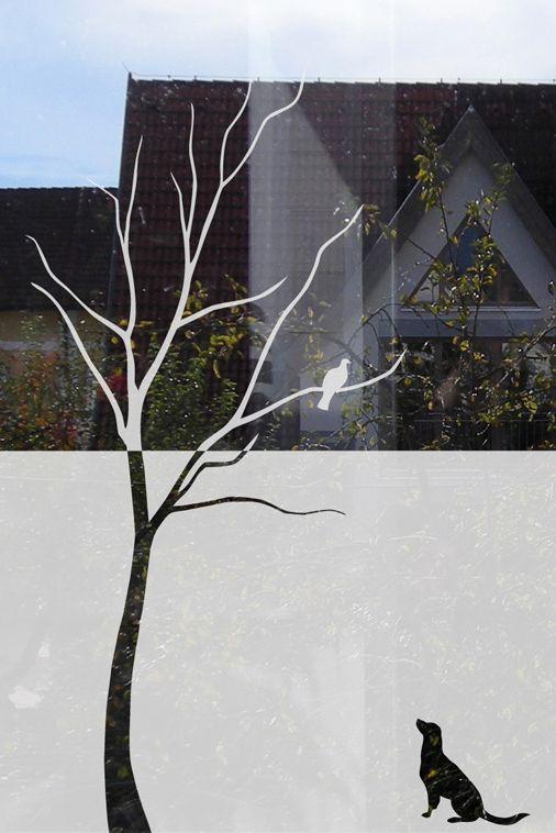 Fenstertattoo Glasdekorfolie Baum und Hund - folie für badezimmerfenster