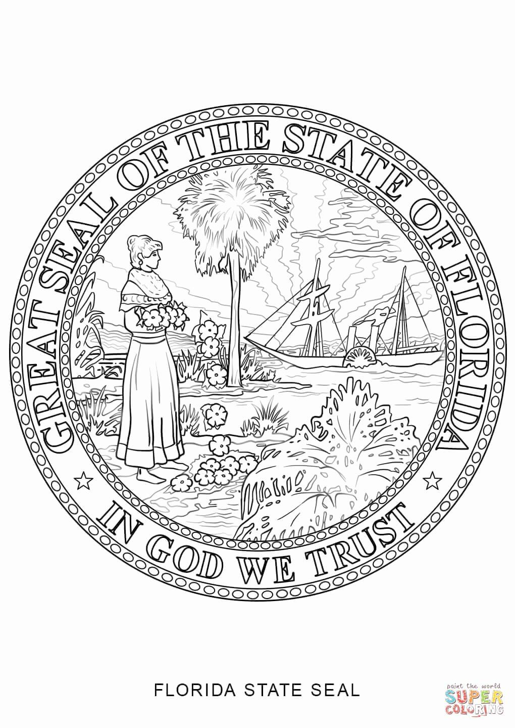 Florida Flag Coloring Page Elegant Florida State Seal Coloring Page Flag Coloring Pages Florida Flag Coloring Pages