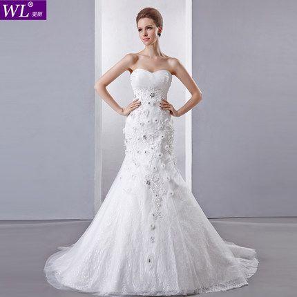 Wenli 2014 new wedding dress Korean Bra small trailing fishtail wedding dress sweet lace Slim was thin