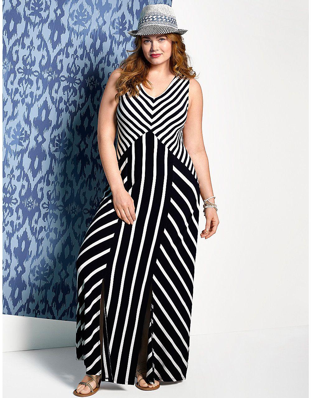 Spliced stripe maxi dress by Lane Bryant   Lane Bryant-would look ...