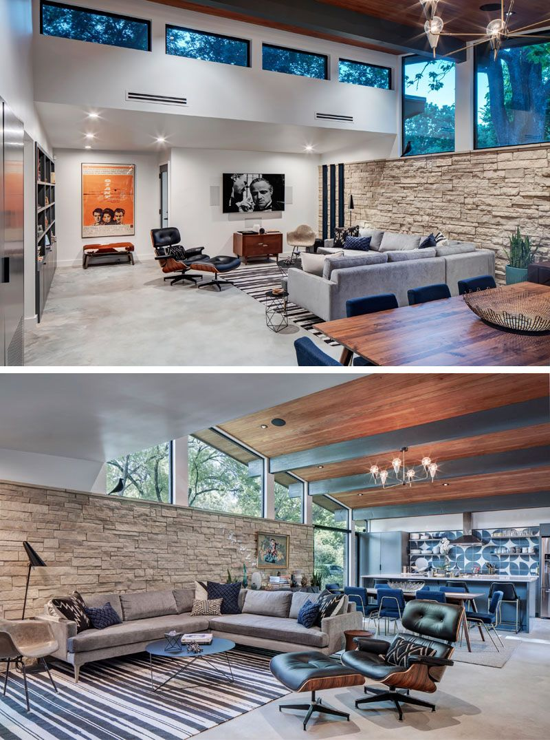 This remodeled mid century modern house has all of the social areas of the home