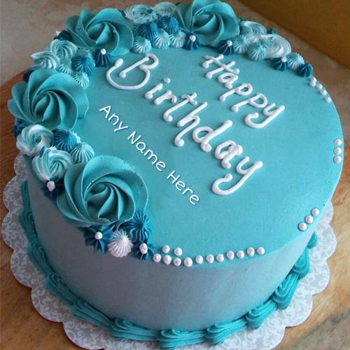 Rosette Birthday Cake With Name Round Birthday Cakes Latest Birthday Cake 40th Birthday Cakes