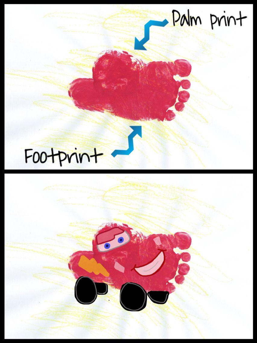 cars lightning mcqueen handprint footprint art project for kids