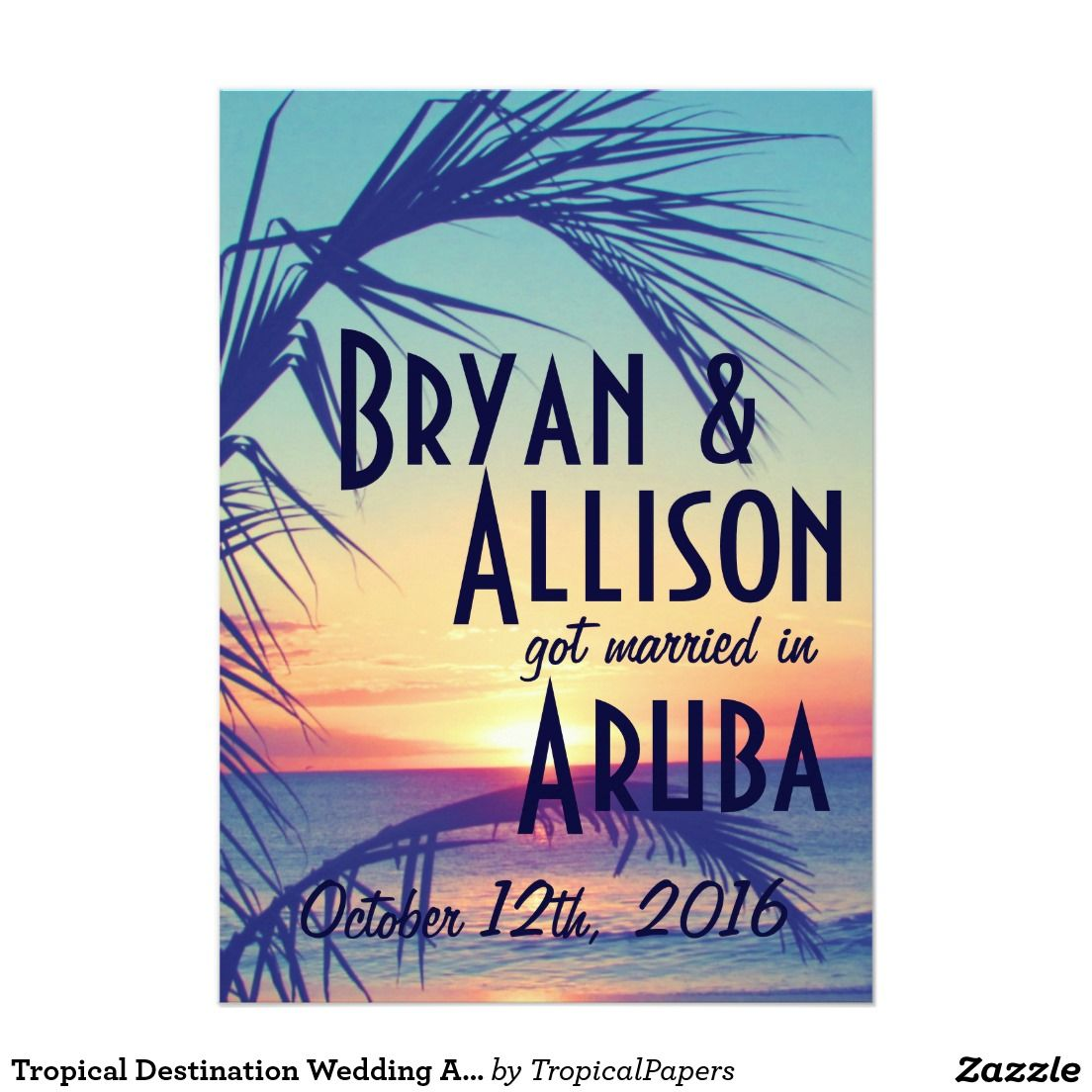 Tropical destination wedding announcement invite tropical tropical destination wedding announcement invite monicamarmolfo Image collections