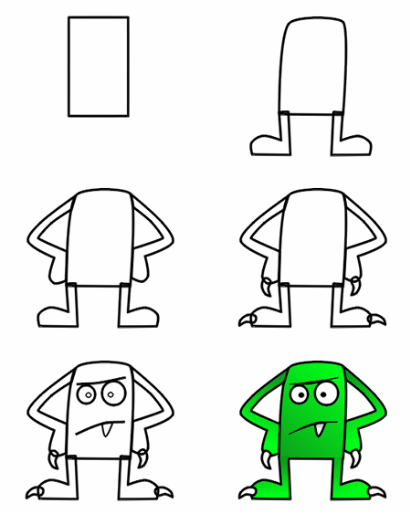 How to draw cartoon monsters step 3