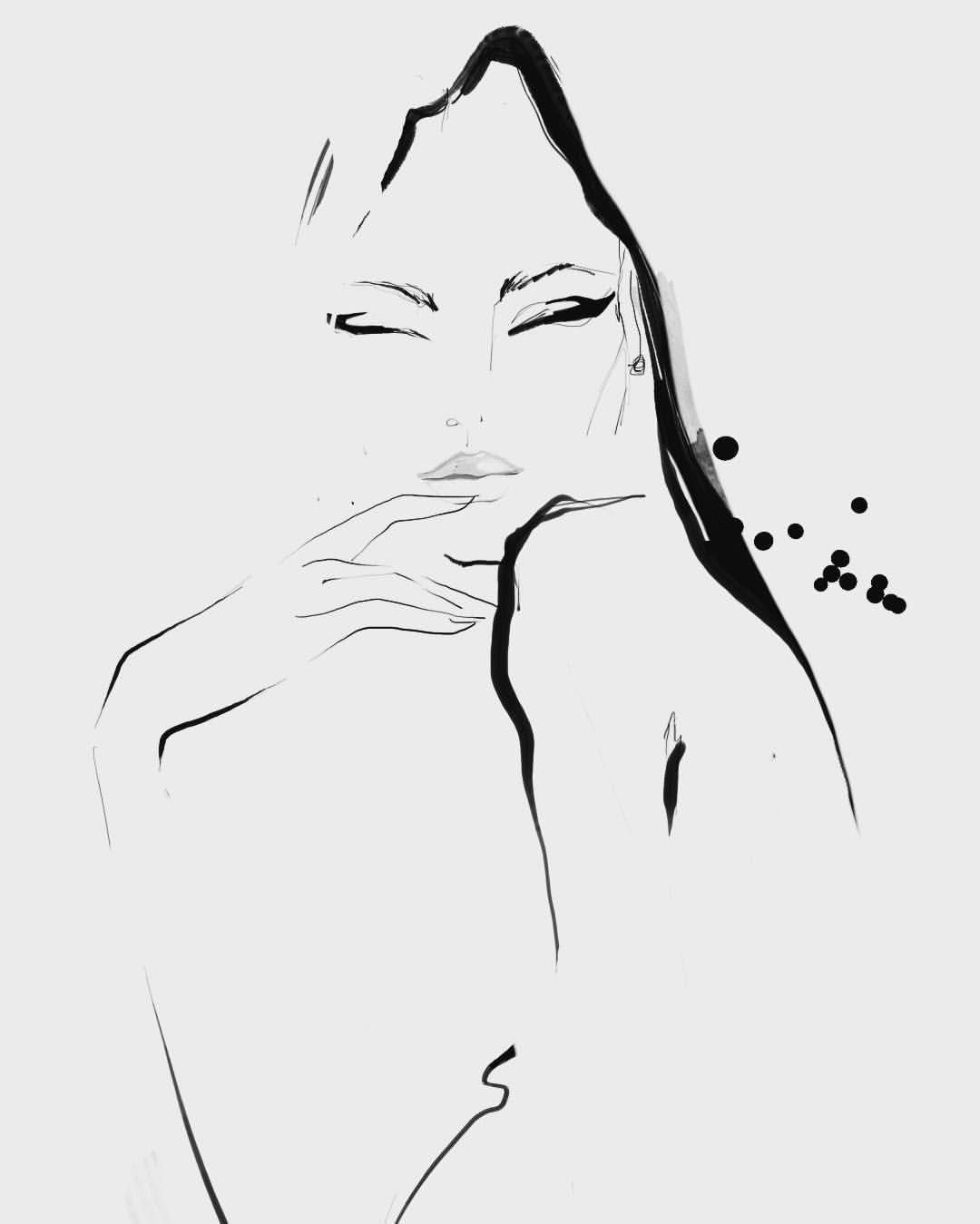 B Amp W Sketch Blackandwhite Sketchoftheday Lady Fashion