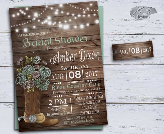 Country Bridal Shower Invitations, Cowboy Boots Wedding Shower, DIY Bridal  Invites Printable, Rustic Wedding Shower Mint Green String Lights By  X3designs