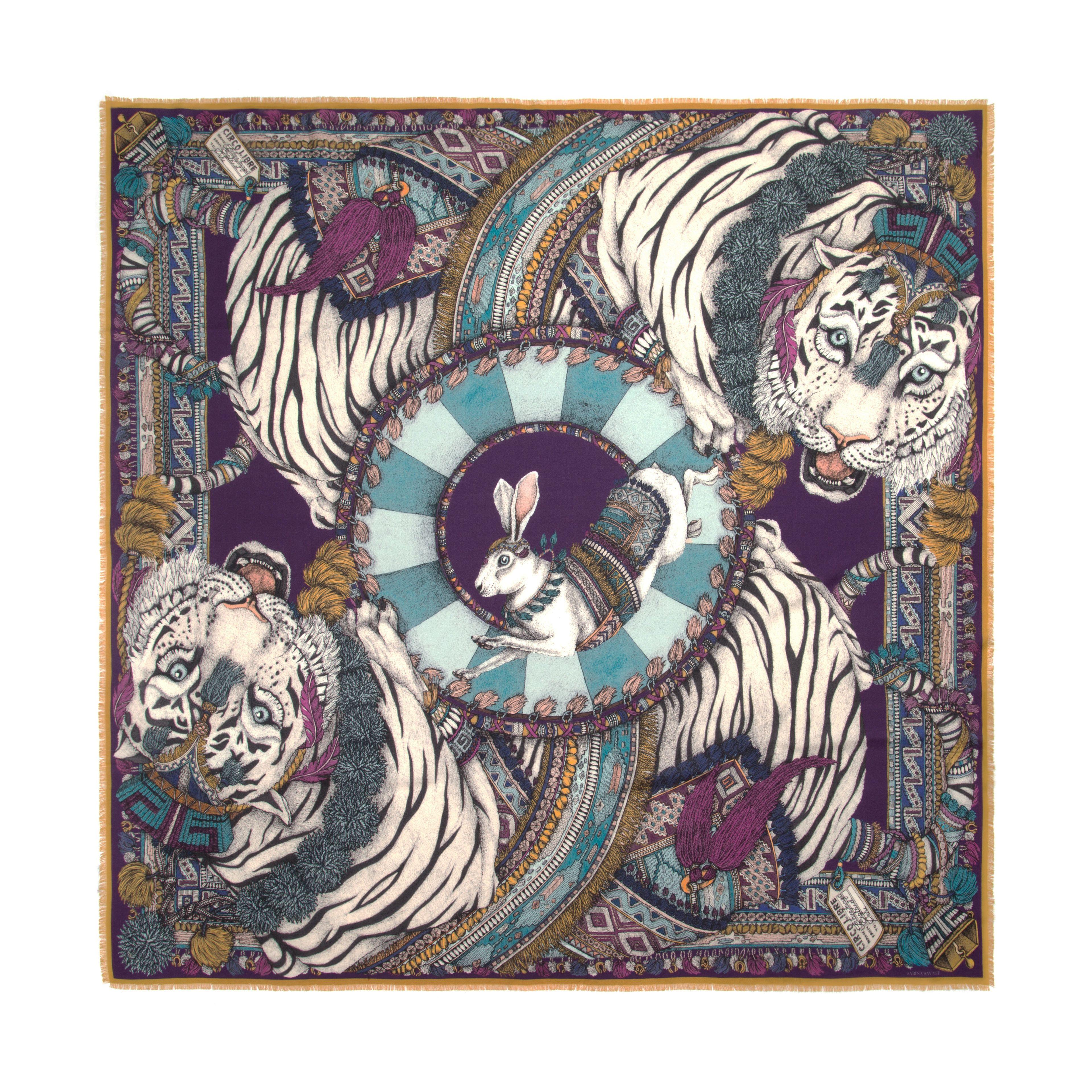 SABINA SAVAGE - The Tasseled Tigers Aqua/Aubergine Luxury scarf design