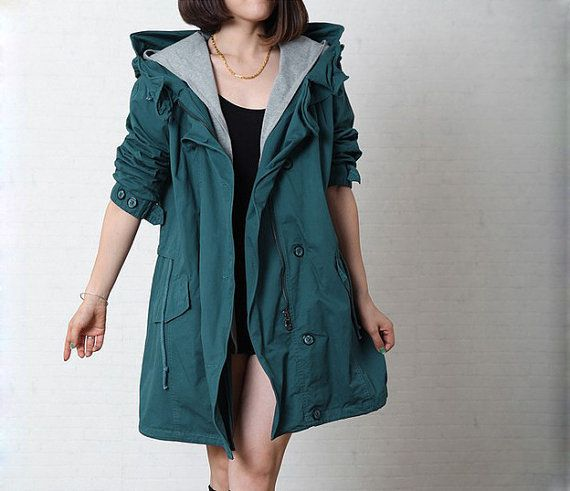 Dark Green Long Autumn Coat For Women/Cotton Loose Fitting Fall Clothes with Hat/Long Women Windbreak with Front Zip and ButtonsSize M/L