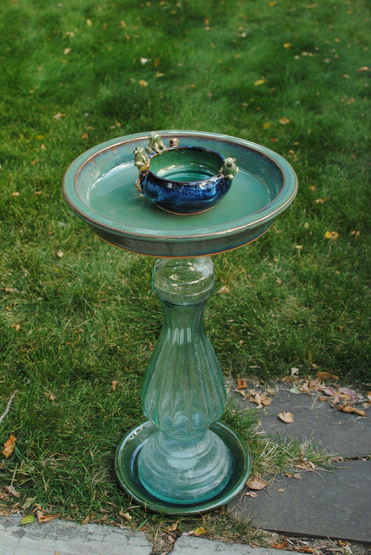 Upcycled garden bird feeder or shallow bird bath. Check us out on ...