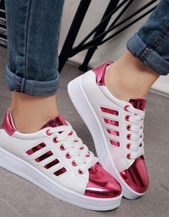 pembe sk21508 parlak bağcıklı spor ayakkabı sk21508 pembe tenis mujer Zapatos d3cf67