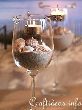 Tea Light Candle Holder Inserts For Wine Glasses More Wine Glass Candle Wine Glass Candle Holder Seashell Crafts