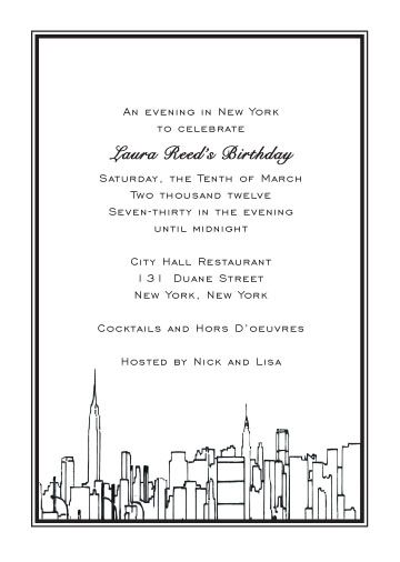 New York Theme Invitation NYC theme invites Pinterest Bat