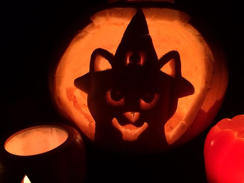 Pumpkin Carving Ideas Black Cat In Witches Hat Pumpkin Carving Cat Pumpkin Carving Creative Pumpkin Carving