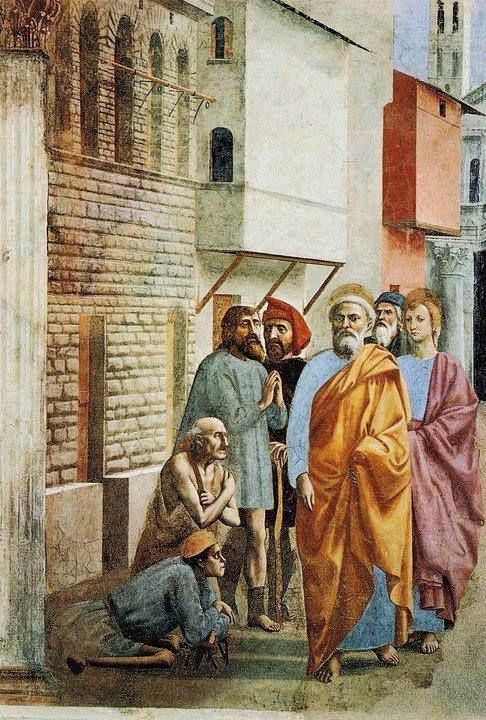 Masaccio, San Pietro risana gli infermi con la propria ombra, 1425 ca. (Cappella Brancacci).