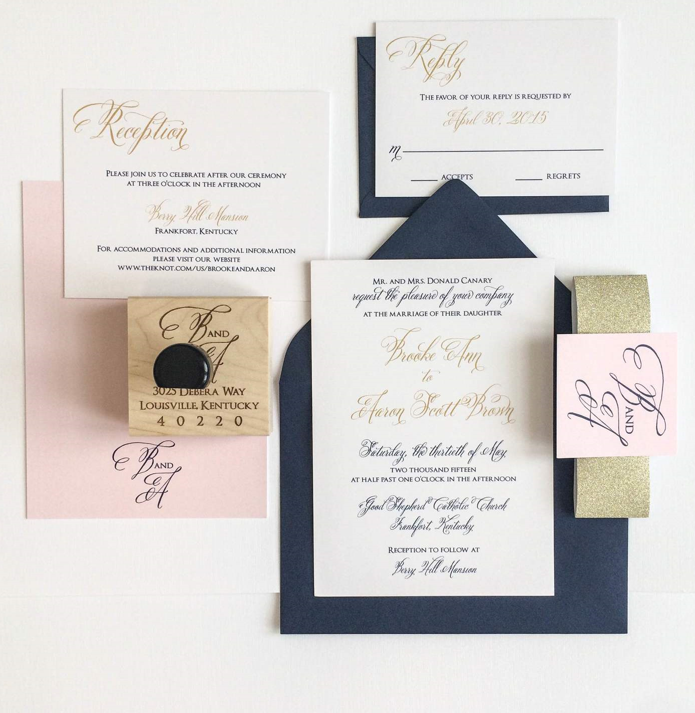 Gold, Navy And Blush Wedding Invitation For A Kentucky