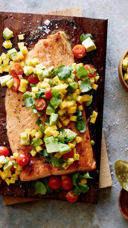 Cedar Plank Salmon with Mango Avocado Salsa from www.whatsgabycooking.com (@whatsgabycookin)