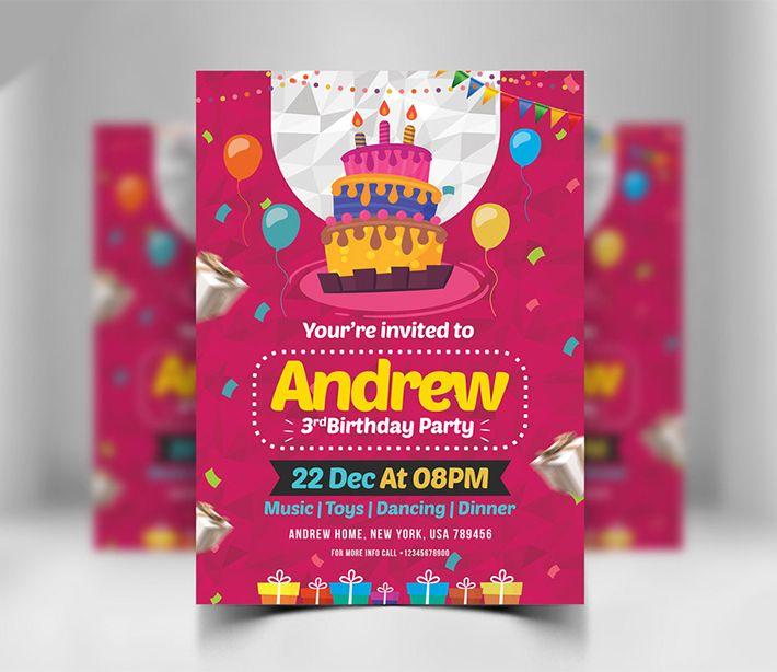 Awesome Birthday Invitation Card Design Psd Download Freebie Design Happy Birthday Invitation Card Invitation Card Birthday Birthday Card Template