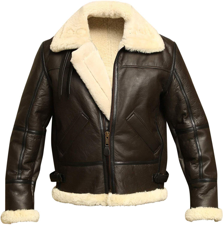 B3 Bomber Wwii Pilot Real Shearling Brown Sheepskin Leather Jacket Xs At Amazon Men S Clo Mens Leather Bomber Jacket Leather Jacket Men Leather Bomber Jacket [ 1500 x 1489 Pixel ]