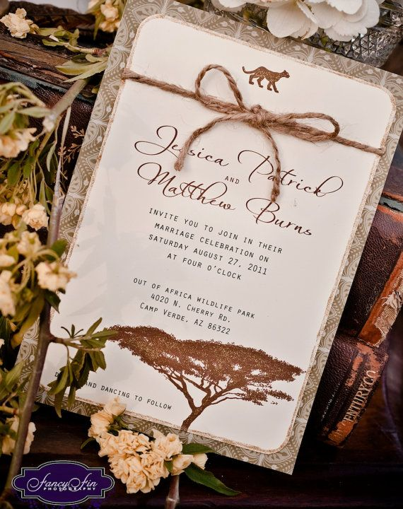Vintage Desert Safari Wedding Invitations - hand painted and embellished with glitter