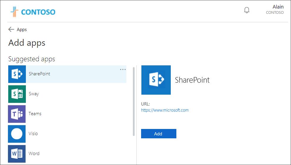 الوصول إلى التطبيقات واستخدامها على بوابة التطبيقات الخاصة بي Azure Active Directory مستندات مايكروسوفت Organization Apps Sharepoint App