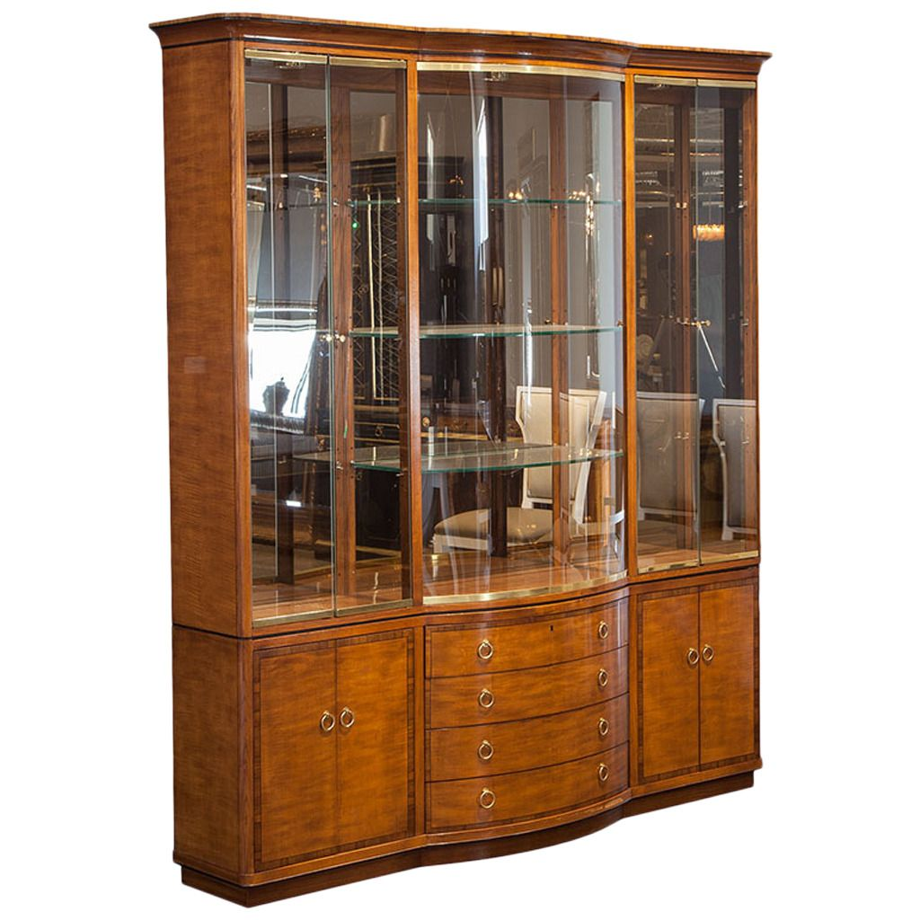 Vintage Drexel Heritage Breakfront Display Cabinet