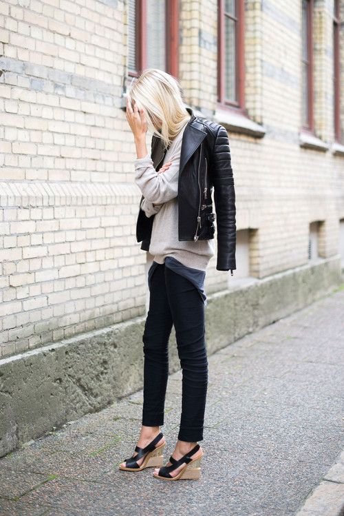 dfcb491ba0b2 Try styling your leather jacket draped over your shoulders.  www.stylestaples.com.au