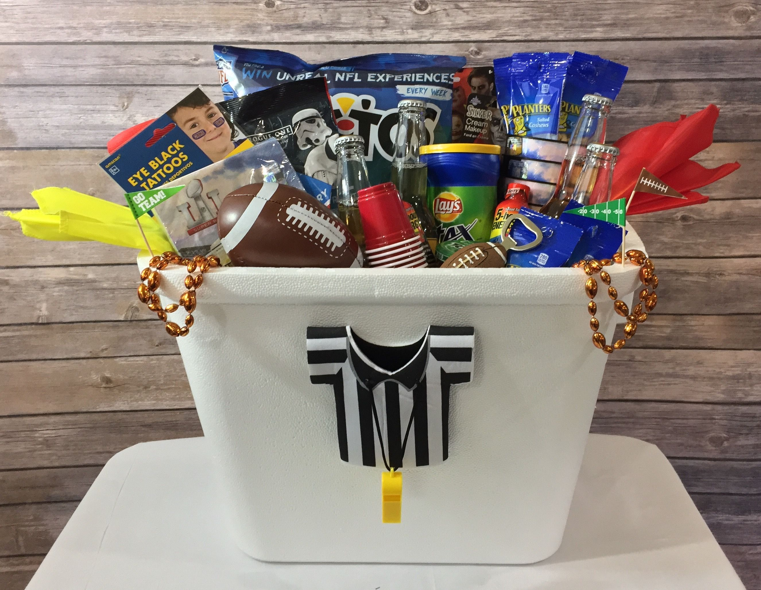 Football party gift basket by darling dapper football