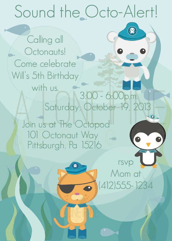 Octonauts Birthday Invitation Party ideas Pinterest Birthdays