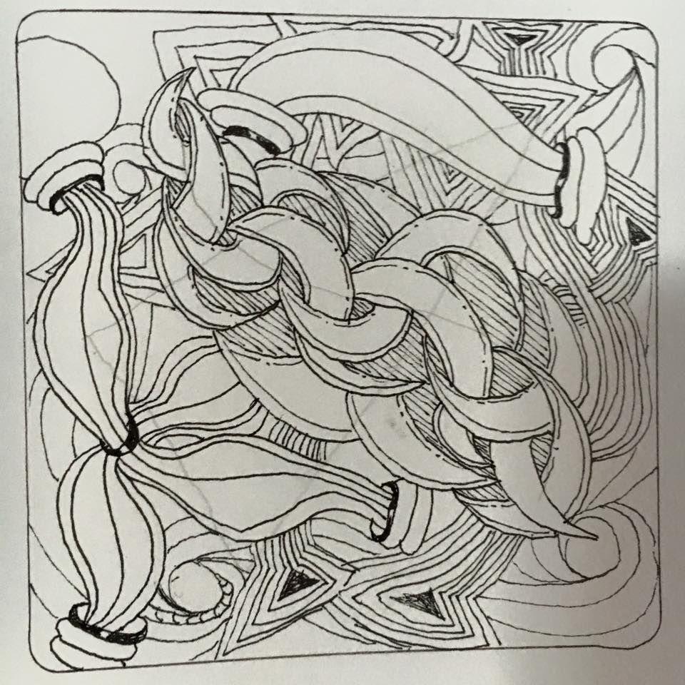 Zen Tangling Debra 1 hr Overlap challenge.  Punzel, IX, hurry, copada, cadent, zengems, enmingle, pezino.