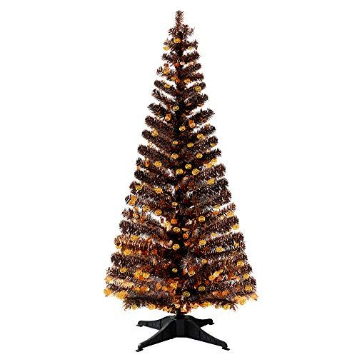 5FT Pop Up Christmas Tinsel Branches Trees with Pumpkin Sequin for Indoor Decora…