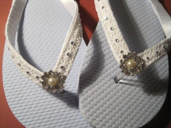 3cdc546d7 NEW STYLE So Sweet Bride Mallory White Crochet Gem Bride Wedding Flip Flops  via Etsy