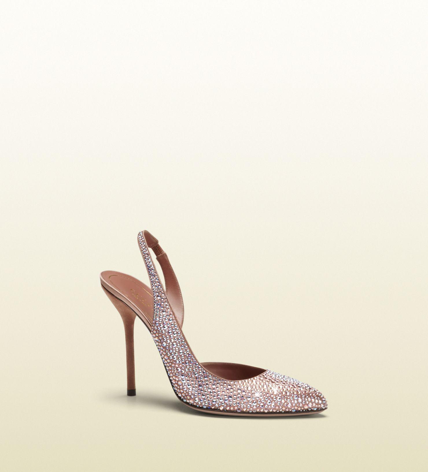 Gucci Noah Evening Pink Crystal D Orsay High Heel Sling Back