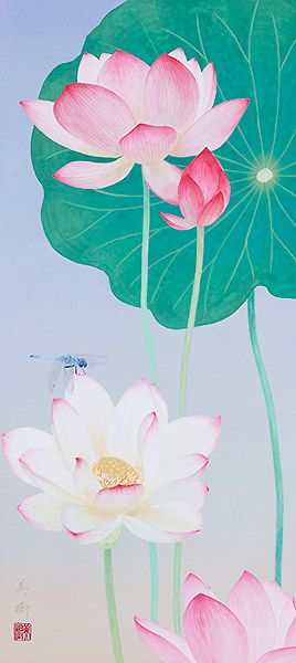 夏花 2013年 67 野地美樹子 蓮の絵 フラワーアート 蓮 イラスト