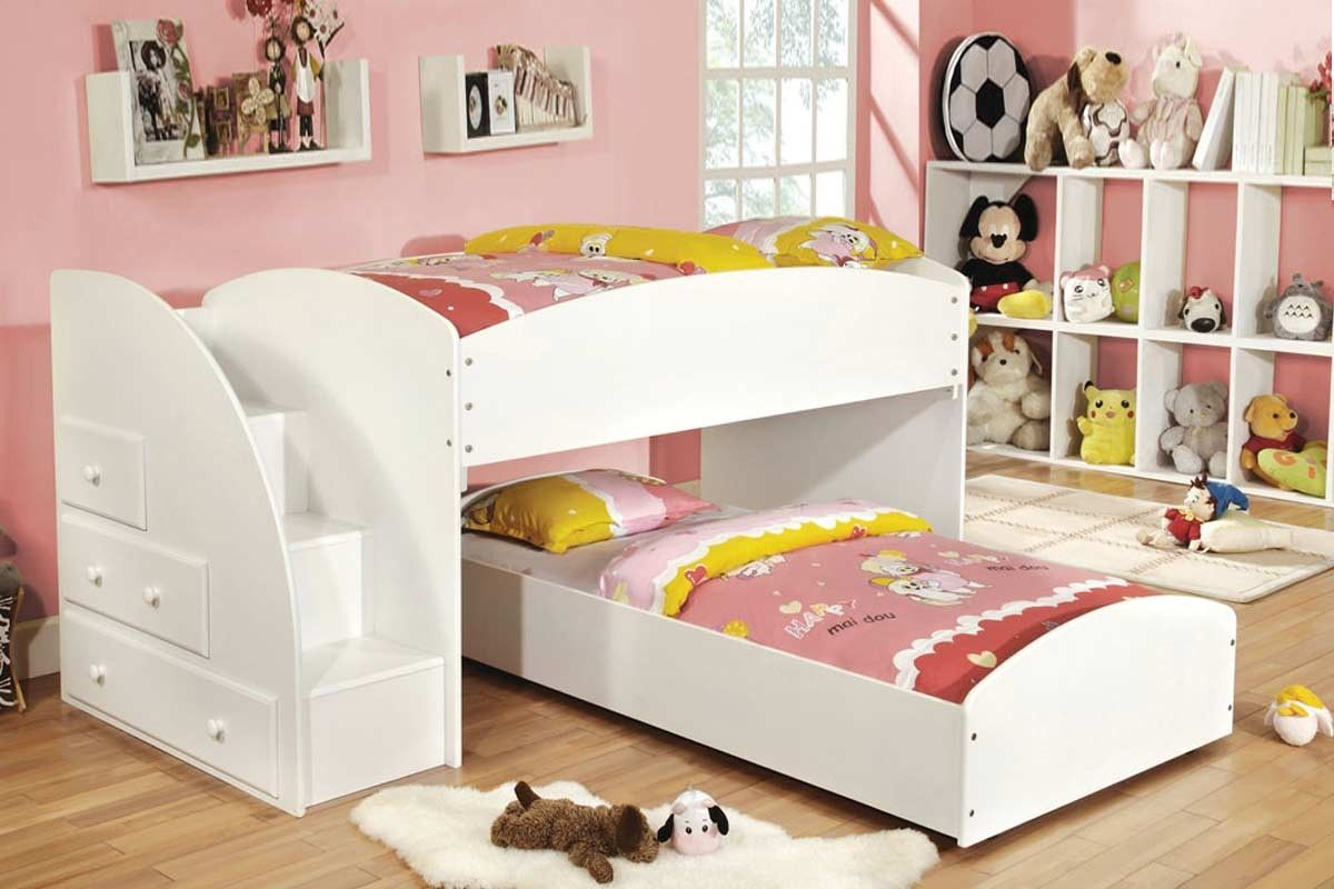 White Wood Storage Twin Twin Loft Bunk Beds Stairs Drawers Kids
