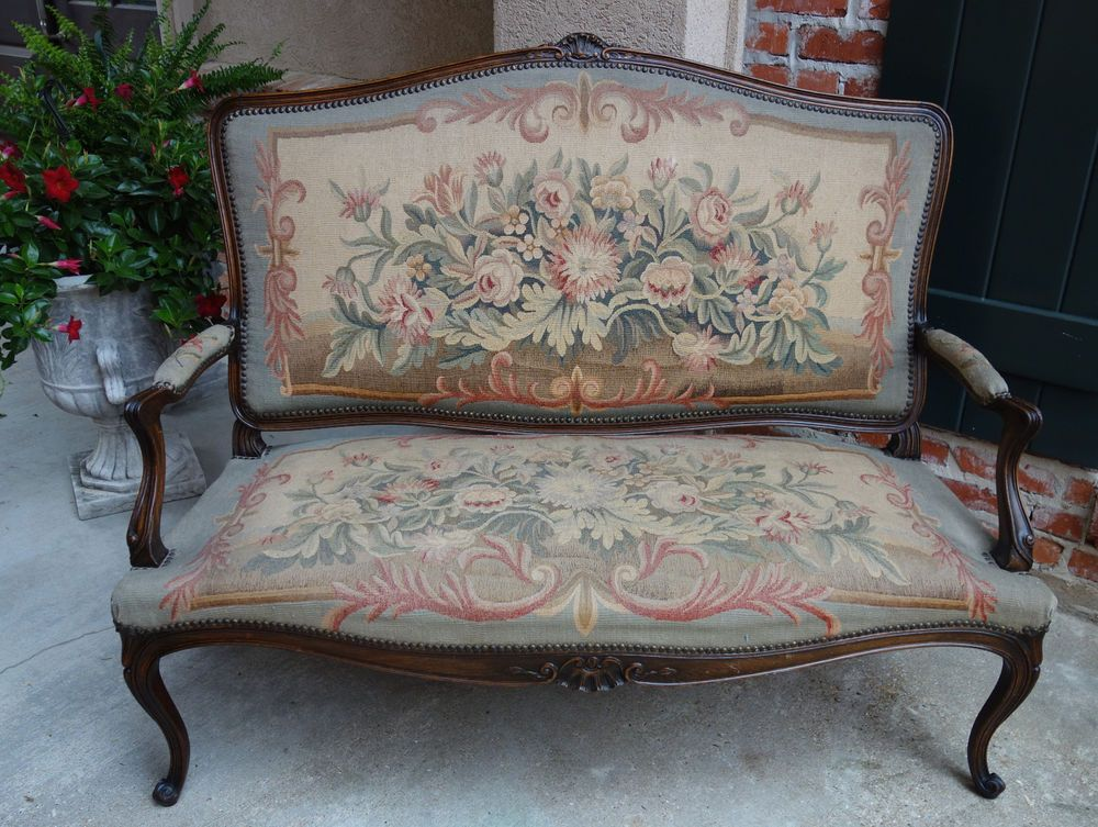 Antique French Carved Oak Louis XV Settee Sofa Bench Aubusson Tapestry  Loveseat #LouisXIIIXIVXVXVI
