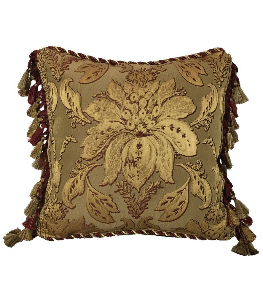 The Majesty Gold And Burgundy Damask Accent Pillow Is