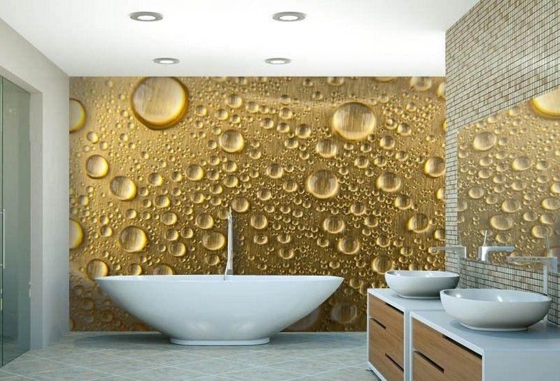 Papier peint salle de bain avec des gouttes d 39 eau pour une for Papier peint salle de bain
